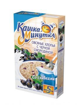 Каша Кашка Минутка овсяные хлопья черная смородина со сливками, 215 гр., картон