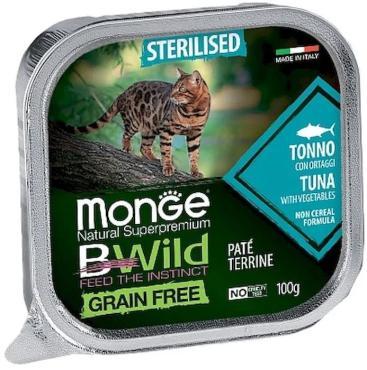 Корм консервированный Monge Cat BWild Grain Free для кошек со вкусом тунец с овощами для стерилизованных кошек, 100 гр., ж/б