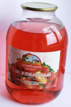 Сок Красноуфимск продукт Гармония клубничный, 3 л., стекло