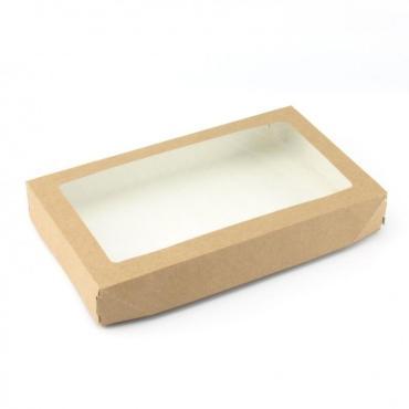 Коробка Do ECO, 200х120х40 мм., ECO TABOX PRO 1000, с окном, коричневая, 25 шт.
