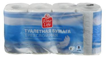 Туалетная бумага Fine Life 3 слоя 8шт. белая