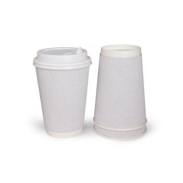 Бумажный стакан, 400 мл (макс. 450 мл), гофр. вертикаль, белый