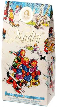 Чай черный Nadin С ароматом клубники и сливок Новогоднее настроение