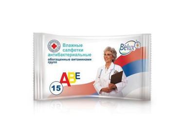 Влажные салфетки Антибактериальные 15 шт., Belux, флоу-пак