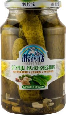 Огурцы маринованные Меленъ Меленковские с зеленью и чесноком, 900 гр., стекло