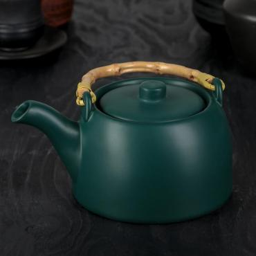 Чайник заварочный Доляна Шифу 500 мл. с металлическим ситом зеленый