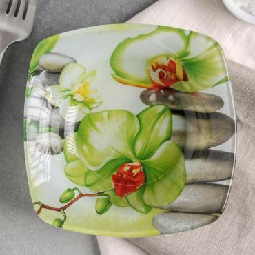 Салатник Доляна Зеленая орхидея 200 мл.14х3 см. стекло
