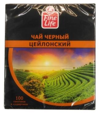 Чай Fine Life черный Цейлонский 100 пакетов