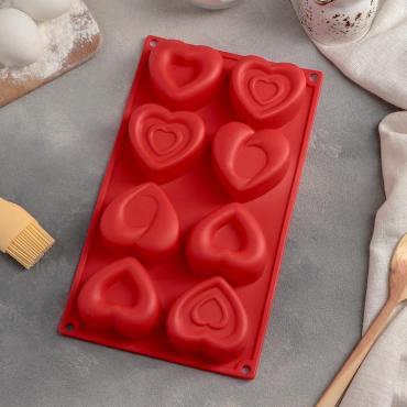 Форма для выпечки Доляна Сердцебиение, 8 ячеек