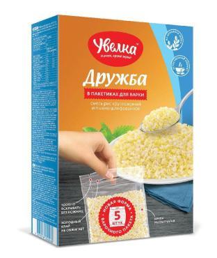 Смесь в пакетиках для варки рис круглозерный и пшено шлифованное Увелка Дружба, 400 гр., картон