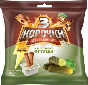Сухарики со вкусом молосольных огурцов с соусом тар-тар 3 корочки, 85 гр., флоу-пак