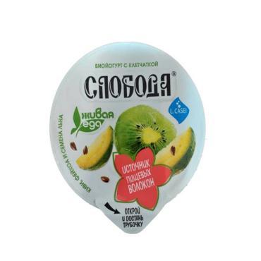 Биойогурт с клетчаткой обогащенный лактобак L.casei 2% с фейхоа, киви и семенами льна, Слобода, 235 гр, ПЭТ