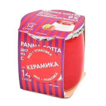 Десерт из сливок PANNA COTTA Сливки-клубника, 140 гр., Коломенский, пластиковый стакан